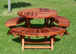bench picnic table kit round picnic table plans plastic throughout round wood picnic table