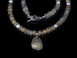 golden rutilated quartz venus hair necklace sterling silver with pendant soldout