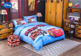 blue cartoon lightning car print bedding set for boys bed cover cotton bedclothes single twin full