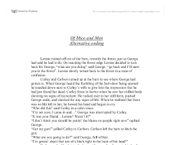 of mice and men alternative ending a level english marked by document image preview
