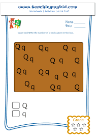 printable worksheets for kindergarten - Count and Write Q and q - Worksheet  - 17