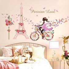 flower fairy bicycle erfly flower tower wall sticker girls room kids nursery wall decals home decorations