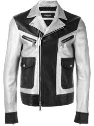 dsquared2 two tone leather jacket men clothing dsquared jeans unique
