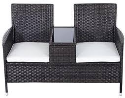 outsunny garden rattan 2 seater companion seat wicker love seat weave partner