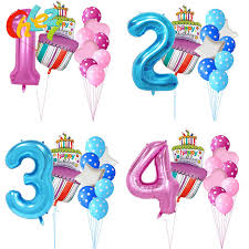 40 Inch Pink Blue Number 1 2 3 4 5 Year Birthday Cake Balloons Baby