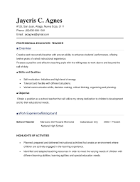 a sample resume resume sample for teachers