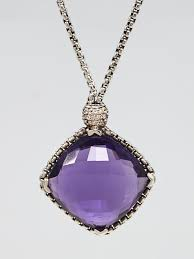 david yurman 20mm sterling silver and amethyst cushion on point pendant necklace