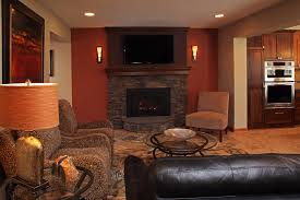 ... Artistic Home Interior Design Ideas With Fireplace Wall Sconces  Decoration : Modern Brown Fabric Love Seat ...