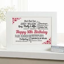 50th birthday gift for him of typographic art print 18th birthday gifts