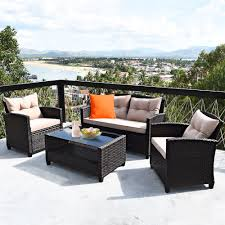<b>4 PCS</b> Patio Garden Rattan Furniture Set <b>Coffee Table</b> Cushioned ...
