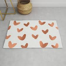 rose gold pink hearts on paper rug