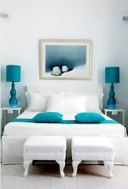white bedroom with blue accents.  Bedroom Stylish White Bedroom With Cool Blue Accents On