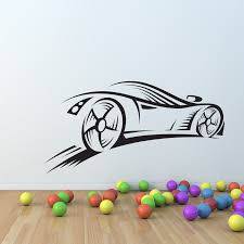 sport car race sd wall decal nursery vinyl