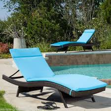 set of 2 blue cushion pads for outdoor patio chaise lounge chairs