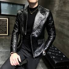 homemenleather jackets2019 spring leather jackets mens black fashion designer leather jackets mens slim fit club outfit leather biker jacket mens coat