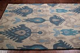 ikat area rugs new transitional blue beige grey area rug carpet hand hooked wool ikat print