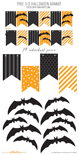 Black Orange Halloween Banner With 3 D Bats Free Kim Byers