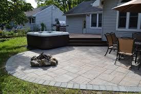 trex deck and cambridge paver patio