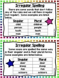 Singular And Plural Nouns Chart Singular And Plural Nouns Task Cards Nouns Activities And Anchor Charts