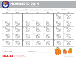 November November Calendar November Tracking Calendar Seasonal The Pizza Hut Book It