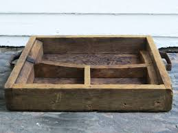 authentic antique wood barn box primitive wood tool caddy with compartments handles farm wooden toolbox rustic wood box tote tray