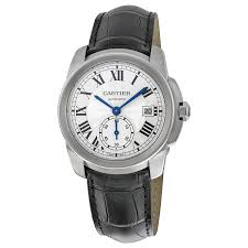 cartier calibre de cartier silver dial black leather men s watch wsca0003