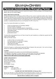 New Personal Assistant Job Description Resume Gt