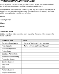 Project Transition Plan Template Xls Management Example Free Photo ...