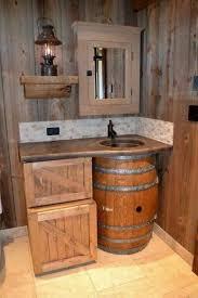 Diy bathroom furniture Wall Mounted Rustic Diy Bathroom Furniture Bathroom Wooden Barrel Wooden Crates Sink Mirror Lantern Fresh Design Pedia Rustic Bathroom Furniture Ideas Would Your Bathroom In Country