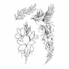 Temporary Tattoo Buy The Bird Of Happiness Set Black And White