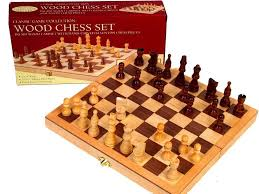 chess set wood 10 5 inlaid family board game birthday gift clearance