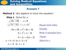 example 7 method 2 use algebra to solve the equation step 1 solve for x