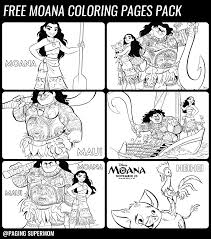 Free Printable Moana Coloring Pages Pack Paging Supermom