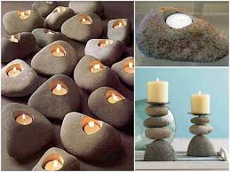 River rock candles