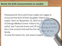 newborn baby announcement sample how to write birth announcements for a newspaper 14 steps