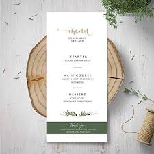 Homemade Card Templates Amazon Com Wedding Menu Template Green Menu Card Garden