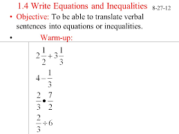 1 4 write equations and inequalities