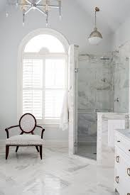 Corner Glass and Marble Shower with Hicks Pendant