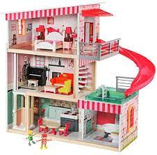 Top Bright Dollhouse With Furniture And Dolls Wooden Doll House For Little Girls 3 4 5 Year Olds 18 Furniture With Sounds And Lights Toys Games