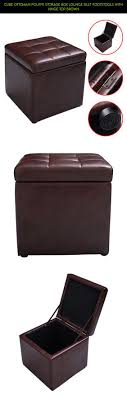 Cube Ottoman Pouffe Storage Box Lounge Seat Footstools with Hinge Top Brown  #tech #gadgets