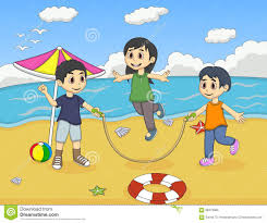little kids playing jump rope on the beach cartoon