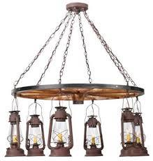 miners lantern 6 light wagon wheel chandelier