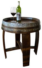 banded wine barrel side table rustic side tables and end tables alpine wine design outdoor finish wine barrel