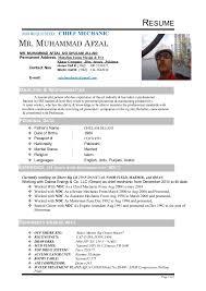 Cv Mechanic Afzal Chief Mechanic Cv 1