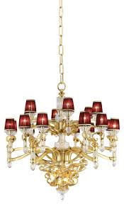 baldi home jewels riccioli chandelier in lead clear crystal and 24k gold over