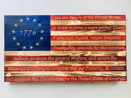 wooden american flag wall art burnt