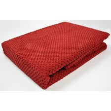red chenille spot throw