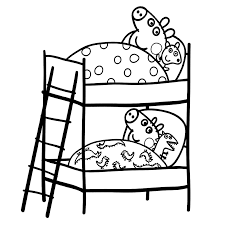 Small Picture Peppa is lying in her bed Coloring pages for kids
