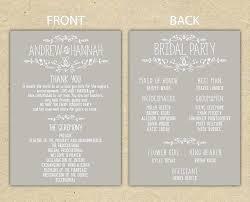 Wedding Reception Program Template Printable Wedding Ceremony