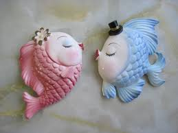 Bathroom Fish Decor Chalkware Kissing Fish Bathroom Decor Wall Art Fabfindsblog